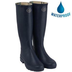 Le Chameau Iris Womens Ladies Blue Tall Wellington Boots Wellies Size 4-8