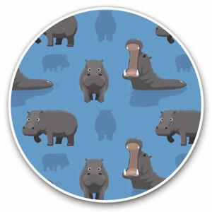 2 x Vinyl Stickers 20cm - Blue Hippopotamus Print Hippo  Cool Gift #15803
