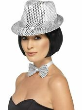 Sequin Trilby Hat, Light Up and Party, SILVER