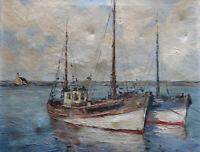 Ancien tableau marine Le Finistere signé Jaillard Deschamps XX peintre Breton