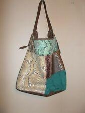 """Icing Womens Shoulder Bag Patchwork Design Python Print Colorful 11"""" strap drop"""