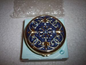 PartyLite P7971 Opulence Gold Travel Tealight Candle Holder Blue Rhinestones NEW
