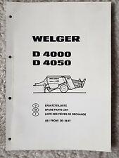 WELGER D4000 D4050 BALER PARTS CATALOGUE