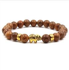 New 8MM Natural Stone Tibetan Gold Elephant Beads Charms DIY Bracelets Jewellery