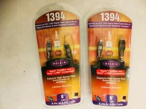 Lot of 2 BELKIN 1394 6 FT. 6-PIN TO 4-PIN CABLE, APPLE FIRE WIRE & SONY