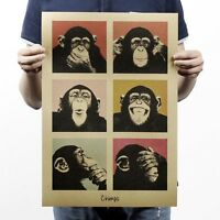 Party Paper Vintage Funny Home Decor Poster Retro Kraft Orangutans