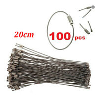 100PC Stainless Steel EDC Aircraft Cable Wire Key Chain Ring 20cm Screw Locking