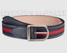 GUCCI 38-95 blue/red WEB Blue Leather palladium LOGO buckle belt NWT Authentic!