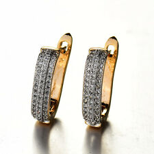 HUCHE White & Yellow Gold Filled Paved Diamond Crystal Women Lady Hoop Earrings