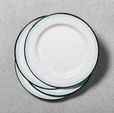FOUR Hearth & Hand Magnolia Enamel Salad Plates Blue Rim White Black  Farmhouse