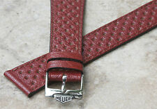 Brown 20mm vintage rally band NOS 1960s/70s with Heuer buckle period Corfam look