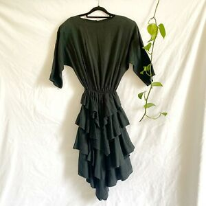 Vintage 80s Black Cotton BATWING Indie Tiered Skirt 1980s RA-RA Dress Size 8 S