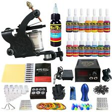 Complete Tattoo Kit 1 Tattoo Machine Guns Set 14 Ink Power Supply Needle TK102
