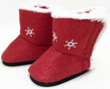 "Red Sparkle Boots Shoes w/Snowflakes made to fit 18"" American Girl Doll Clothes"