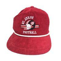 Vintage Red Corduroy High School Football Snapback Hat Cap Made In USA MI
