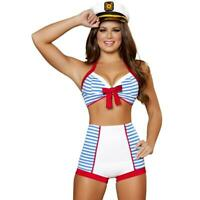 Retro Sailor Costume Halter Top High Waist Shorts Captain Hat Bikini Style 4395