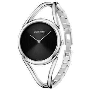 Calvin Klein Lady Quartz Black Dial Silver Steel Bracelet Ladies Watch KBA23121