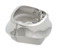 Zest Silver Look Waved Hinged Cuff Bangle Bracelet Silver