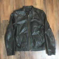Vintage Pierre Andre Black Leather Bomber Style Full Zip Coat Jacket Men's Sz 40