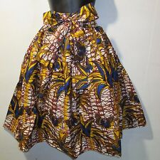 Skirt Fit M L XL 1X 2X Plus African Wax Print Ankara Brown Gold Blue NWT 16321 E