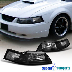 For 1999-2004 Ford Mustang Head Lights Corner Lamps Black