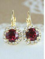 2.40 Ct Round Ruby & Diamond Women Halo Hoop Earrings 14K Yellow Gold Finish