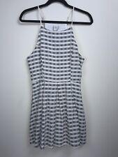 Paper Crane Dress Spaghetti Straps Off White Blue Size Small Horizontal Stripes