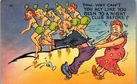 Line Dancing Night Club Paw Older Couple 1940's Era Humor Vintage Postcard