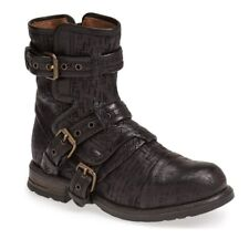 UGG COLLECTION ELISABETA WEAVE BLACK LEATHER/ SHEARLING BOOTS, US 6/ EUR 37 $450