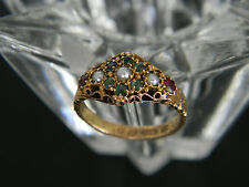 ANTIQUE VICTORIAN 15CT GOLD GARNET, EMERALD & SEED PEARL RING FROM 1874 or 1899