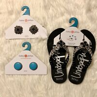 Lindsay Phillips Erica Sandals Black/Silver With 2 Interchangeable Snaps Size-7