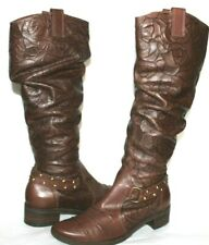 ❤️MASIERO Brazil Floral Embossed Premium Leather Tall Boot 8 M EXCELLENT!L@@K!b