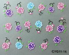 Nail art stickers bijoux d'ongles autocollants: roses multicolores et branches