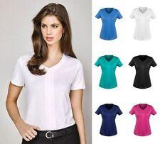 Polyester Short Sleeve Career Knit Tops for Women