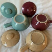 Lot Vintage USA Pottery Soup Bowl w/ Lid and Handle Ovenware Casserole Dishes