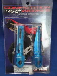CW SUZUKI GSXR 600 750 1000 BANDIT RIDER PASSENGER BLUE FOOT PEG PEGS 1GPS2-B