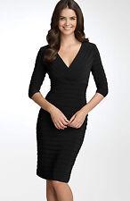 ADRIANNA PAPELL SHUTTER PLEAT JERSEY BLACK SHEATH DRESS sz 12 P