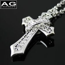 """Clear cubic ring cross pendant with 24"""" chain necklace US SELLER"""