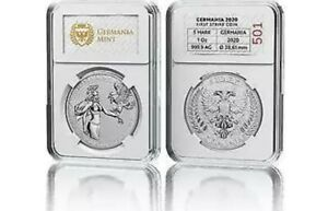 Germania 2020 5 Mark - Germania 1 Oz 999.9 Silver BU Coin. FIRST STRIKE!