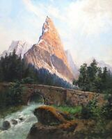 FP VINTAGE PLEIN AIR  LANDSCAPE MOUNTAIN RIVER STUDY MIXED MEDIA PAINTING