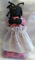 PRIMITIVE AFRICAN AMERICAN PAINTED CLOTH  FOLK ART DOLL TOY 7.5 inches,Weighted