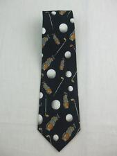 Parquet Men's Black Necktie Tie Golf Sport Theme Golf Ball Bag Iron Club