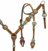 Western Saddle Horse Blue Crystal Bling! Leather Tack Set Bridle + Breast Collar
