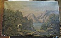 Vintage Original Painting Canvas Cabin Lake Boat Trees Mountain Wood Stretcher