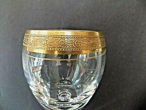 """crystal goblet wine glass gold trim minton vintage original 6 3/4"""""""" tall beer"""