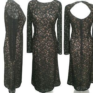 NEXT occasion midi dress size 12 womans beige Black Lace Open back 3/4 sleeve