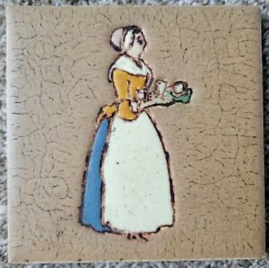 Antique 6 x 6 Grueby Pottery Faience Tile for Walter Baker Cocoa Arts and Crafts