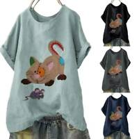 Women Cat Print Short Sleeve Blouse Casual Loose T Shirt Tops Tunic Plus Size UK