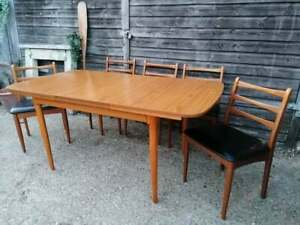 Mid Century Modern Schreiber Teak Extending Dining Table & Chairs  DELIVERY POSS