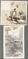 Vintage Photos Pretty Girl w/ Primitive Washing Machines & Pet Dog 695078